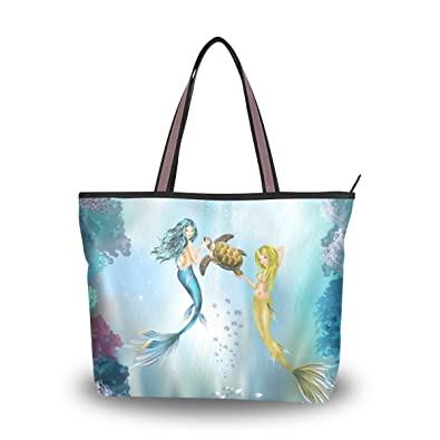 ced0630770f4 Amazon.com: U LIFE Blue Ocean Sea Mermaid Large Carry On Tote Bag ...