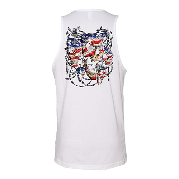 4b34a4af86fe6 Zexpa Apparel Chained Skulls American Flag Men s Tank Top 4th of July USA  Gift Shirts at Amazon Men s Clothing store