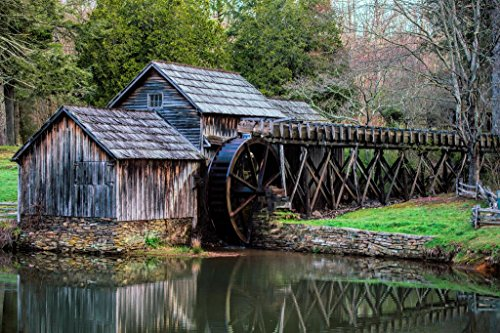 Mabry Mill Watermill Blue Ridge Parkway Floyd County Virginia Photo Art Print Poster 36x24 inch - Mabry Mill Blue Ridge Parkway