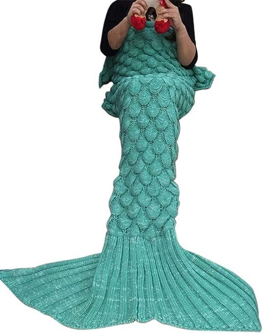 Drasawee hecho a mano de punto manta de cola de la Sirenita ...