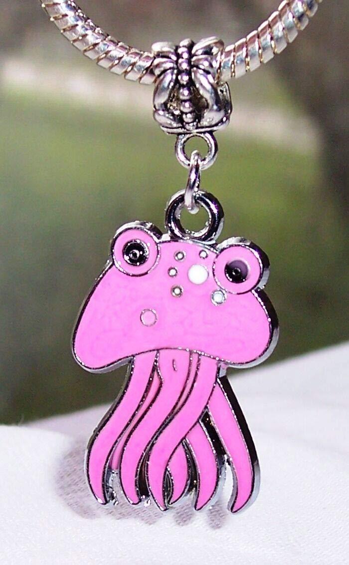 Pink Octopus Enamel Squid Sea Life Beach Dangle Charm for European Bead Bracelet Fashion Jewelry for Women Man