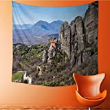 Wall Tapestry Flower Tapestry Floral Words Tapestry Wall Hanging holy monastery of varlaam in meteora mountains thessaly greece unesco world Tapestry Wall Decor Quote Tapestry/35.4W x 35.4L INCH