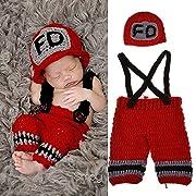 Yarra Modes Baby Photography Props Handmade Crochet Knit Fireman Caps Pants Photo Costume Prop (0-12 Month)