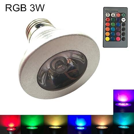 Cambiantes SD001 Colores Lámpara Led E27 Foco 3W Eleidgs 0POknw