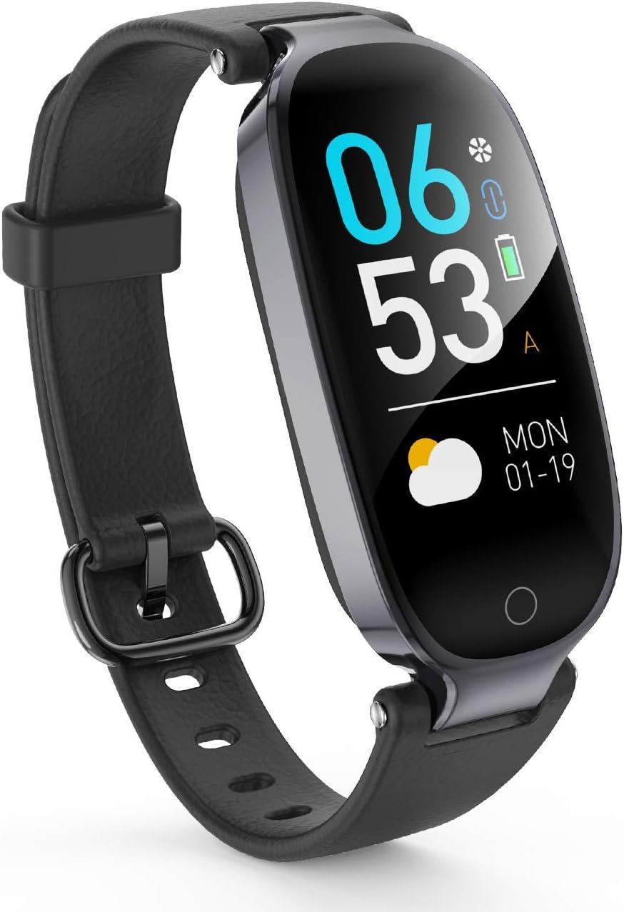 AGPTEK Pulsera Actividad Inteligente, Reloj Inteligente con Pantalla a Color, GPS, Pulsómetro, 16 Modos de Deporte, Monitor de Sueño para Mujer, Negro
