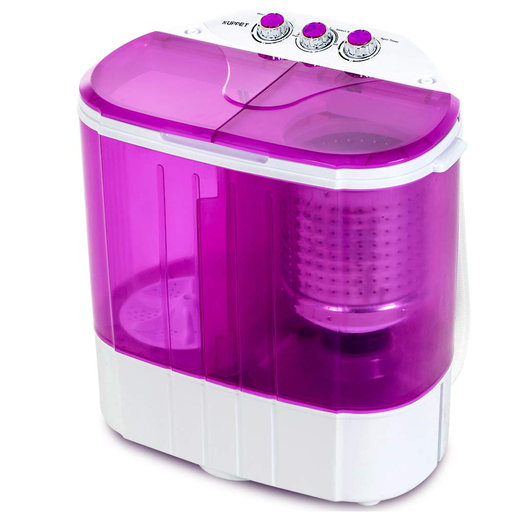 Portable Washing Machine, Kuppet 10lbs Compact Mini Washer, Wash&Spin Twin Tub Durable Design to Wash All your Laundry or Swim Suit for Apartments, Dorms, RV Camping (Purple) by KUPPET