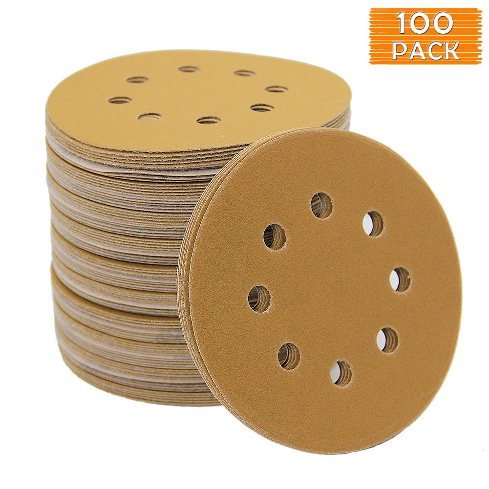 B016SCP1K2 Mestool 58-AP Gold 5-Inch 8-Hole 220 Grit Dustless Hook&Loop 100-pack (220) 61Ej3jZ1b2BL