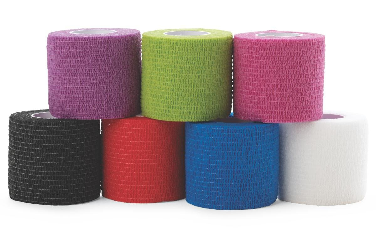 Medline Caring Self-Adherent Cohesive Wrap Bandage, Non-Sterile, Latex-Free, Assorted Color Pack, 2'' x 5 yd (Case of 36)