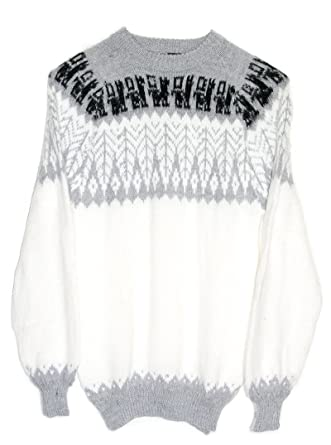 cd948abf89ee8e Amazon.com: Gamboa - 100% Alpaca Sweater for Women - White with an Andean  Leaves Design: Clothing