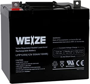 Weize 12V 55AH Deep Cycle Battery UB12550 for Power Scooter Wheelchair Mobility Emergency UPS System Trolling Motor