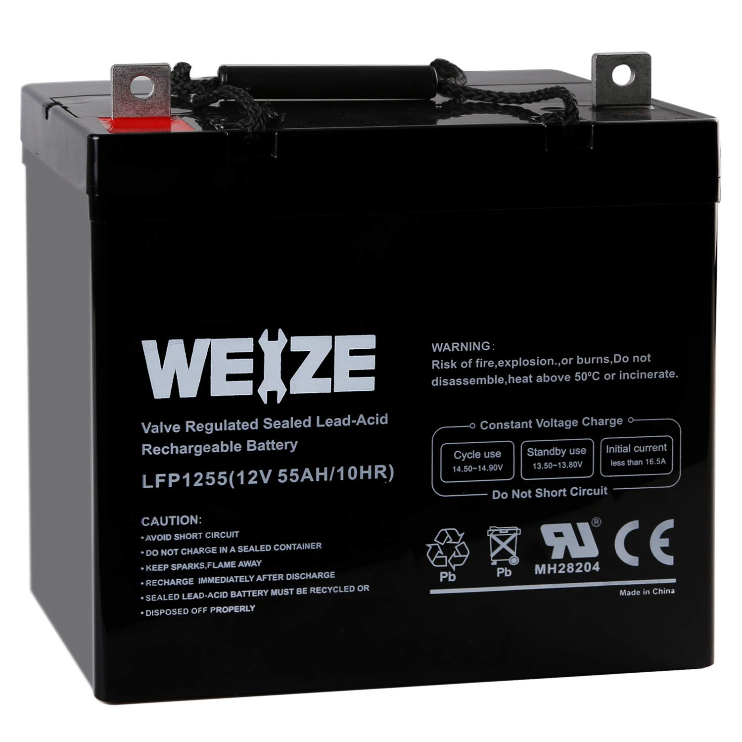 Weize 12V 55AH Deep Cycle Battery UB12550 For Power Scooter Wheelchair Mobility Emergency UPS System Trolling Motor by WEIZE
