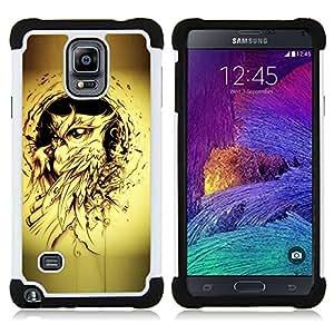 """Samsung Galaxy Note 4 IV / SM-N910 - 3 en 1 impreso colorido de Altas Prestaciones PC Funda chaqueta Negro cubierta gel silicona suave (Pintura Búho Yellow Bird Tattoo Ink Negro"""")"""