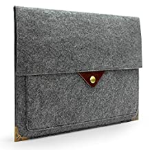 """Lavievert Latest Designed Gray Felt Case Bag Sleeve Protector with Authentic Triangle Leather Flap and Copper Metal Corner and Magnetic Button for Apple 13"""" MacBook Air / 13"""" MacBook Pro / 13"""" MacBook Pro with Retina and Most Popular 13-13.3 Inch Laptop / Notebook Computer / Ultrabooks"""