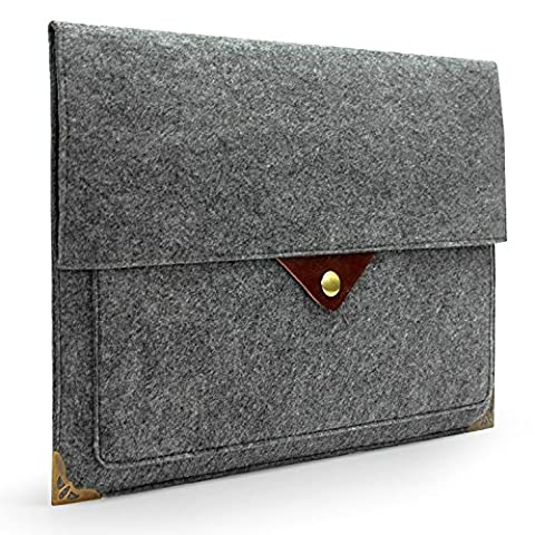 Lavievert Gray Felt Case Bag Sleeve with Authentic Triangle Leather Flap and Copper Metal Corner for Apple 13