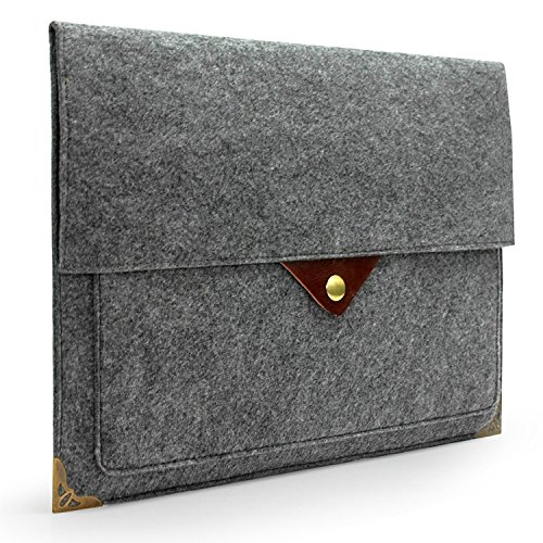 (Lavievert Gray Felt Case Bag Sleeve with Authentic Triangle Leather Flap and Copper Metal Corner for Apple 15