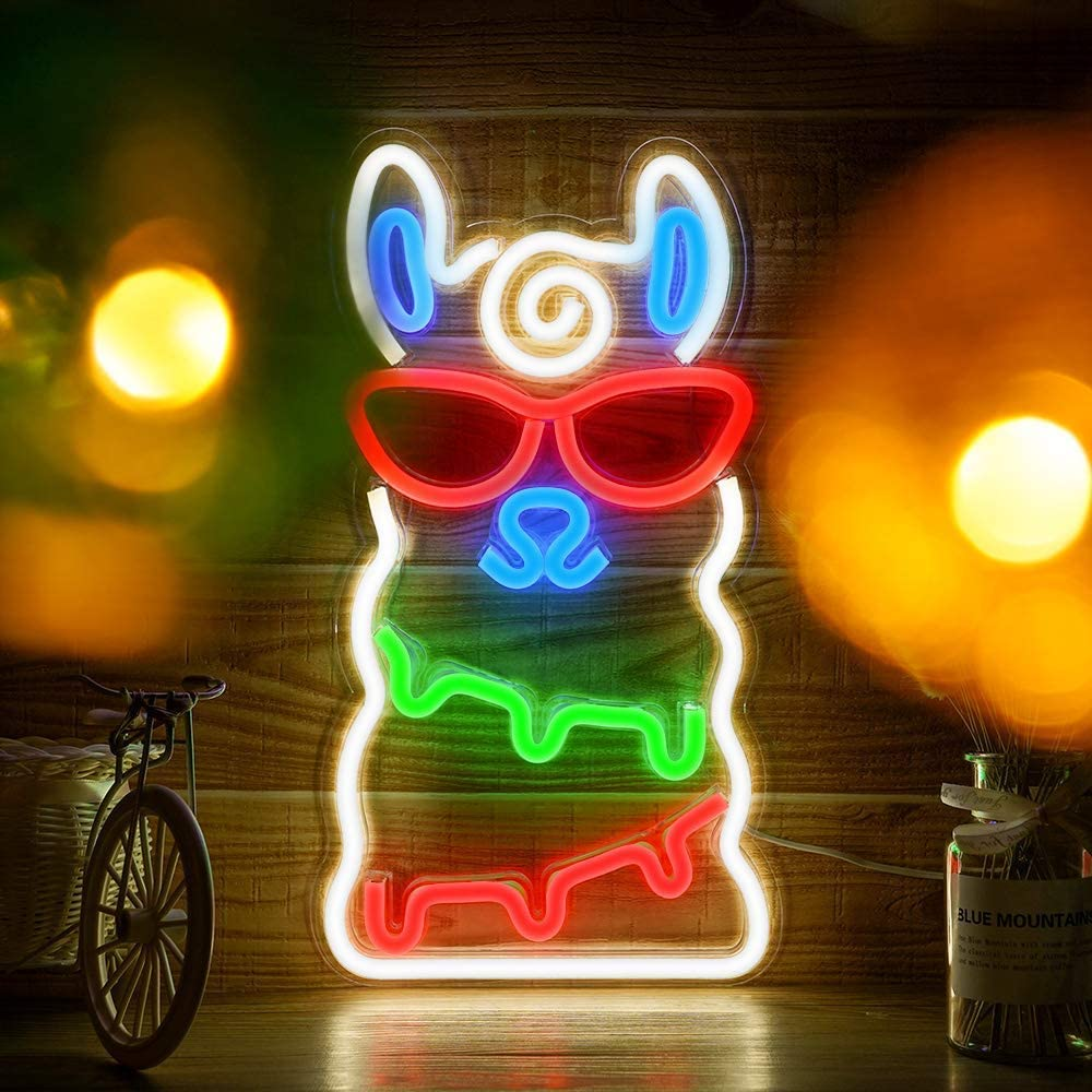 LED Alpaca Neon Light, Festival Wall Neon Sign Art Decor Light for Christmas Home Decoration Bedroom, Lounge Office Wedding Christmas Valentine's Day Party Operated by USB