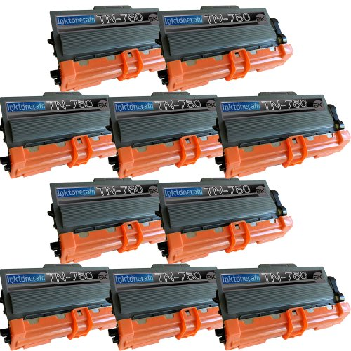10 New Remanufactured TN750 Brother TN-750 Toner Cartridge, Office Central