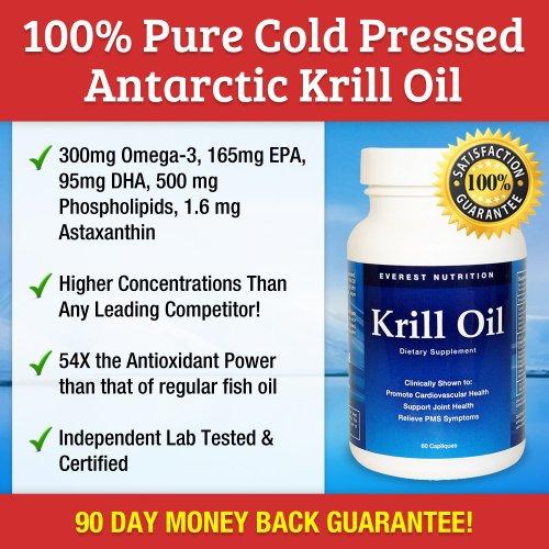 Everest Nutrition Huile de Krill - 100% pure pressée à froid krill de l'Antarctique à l'huile - Plus d'oméga-3: plus hauts niveaux de DHA, EPA et l'astaxanthine dans l'industrie - de 1250 mg / par portion - 60 capsules