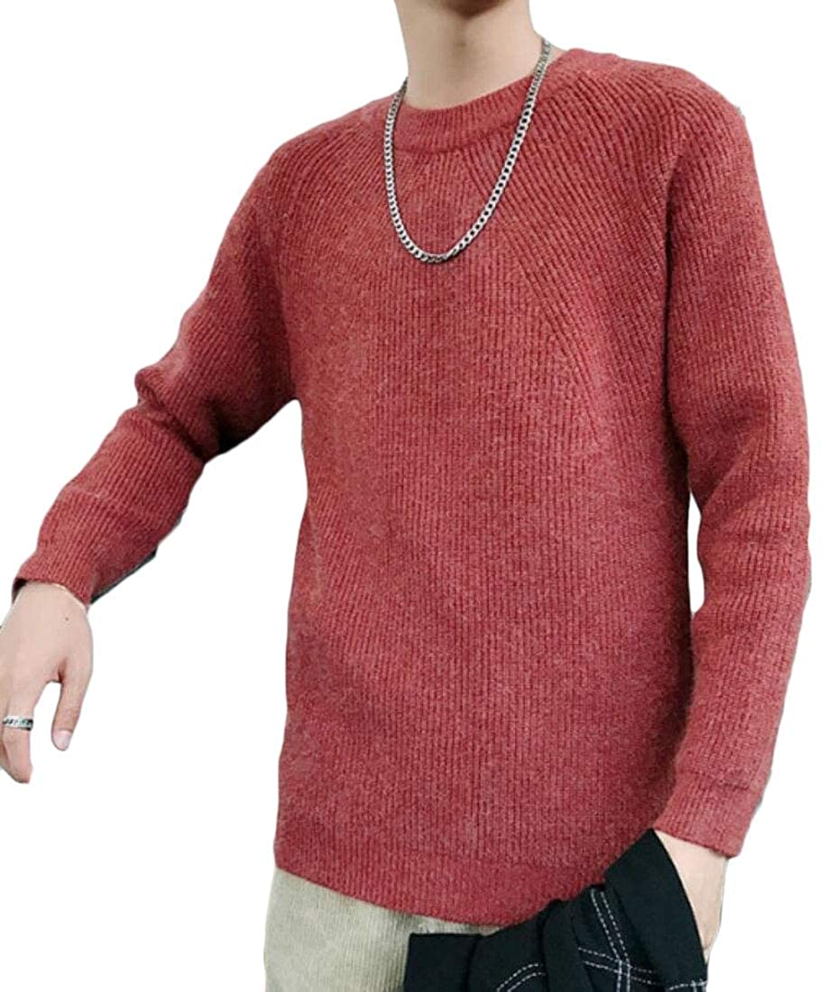 WSPLYSPJY Mens Regular Fit Round Neck Stylish Knitting Solid Color Pullover Sweaters