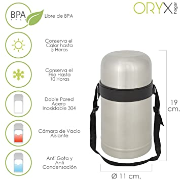 ORYX 5075020 Termo Solidos y Líquidos Acero Inoxidable Antigote, Plateado