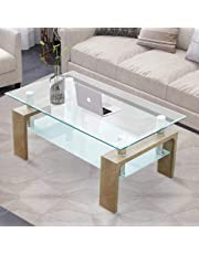 TUKAILAI Rectangle Clear Glass Coffee Table Modern Side Table with Lower Shelf Chrome and MDF Support Living room Guest Reception Room Table