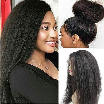 300806edfd6 Glueless 360 Lace Frontal Wigs Kinky Straight Human Hair Wig with Baby Hair  Pre Plucked Italian Yaki...