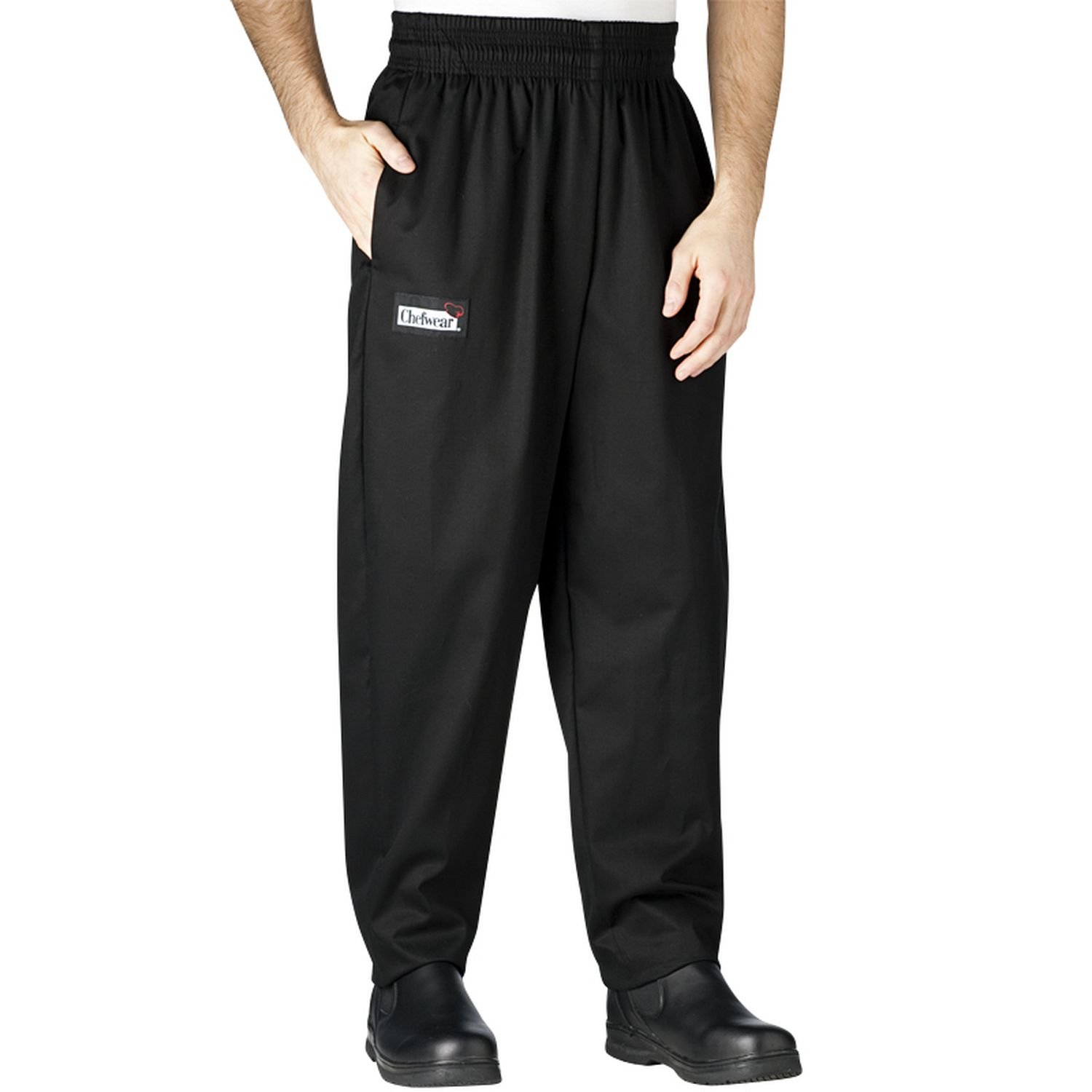 Chefwear Men's Unisex Baggy Cotton Chef Pant, Black, Large