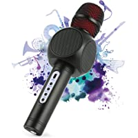 Microfono Karaoke Bluetooth Wireless Fede + Altoparlante Bluetooth con 2 Casse Incorporate, Karaoke Portatile per Cantare, Funzione Eco, Compatibile con Android/iOS, PC o smartphone (Black)