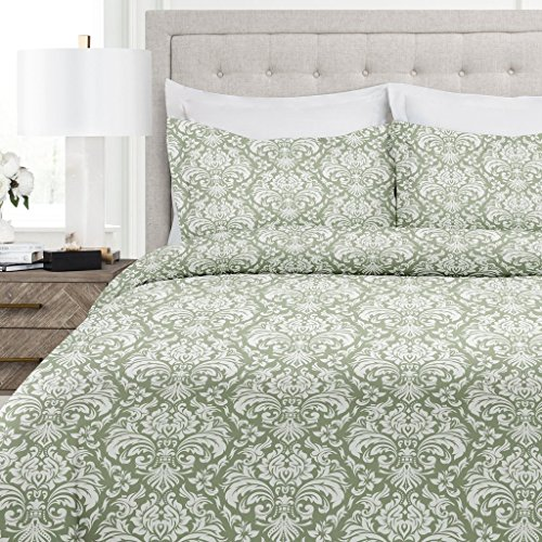 Italian Luxury Damask Pattern Duvet Cover Set - 3-Piece Ultra Soft Double Brushed Microfiber Printed Cover with Shams - King/California King - Sage/White