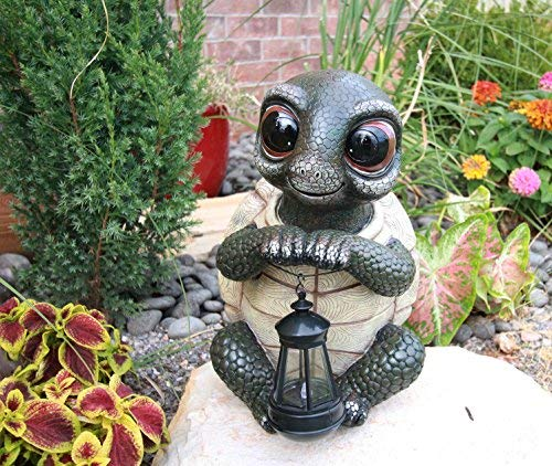 (Adorable Baby Turtle Tortoise Holding Solar Lantern Garden Path Lighter Statue)