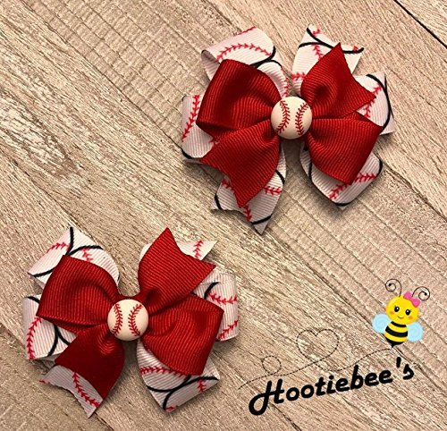 Baseball Toddler Hair Bow Set (Red or Black)