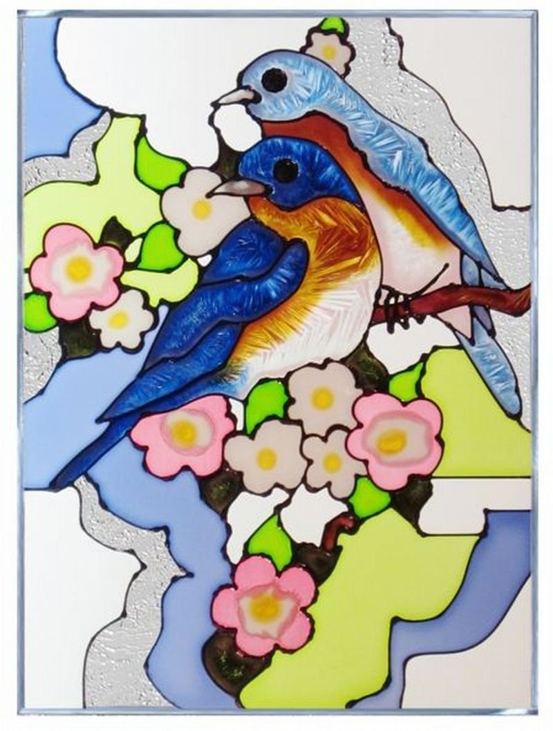 Bluebirds and Blossom Vertical Art Glass Panel Wall Hanging Suncatcher 14 x 10