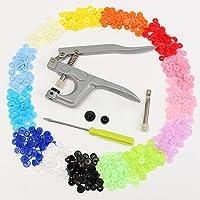 slivercolor T5Poppers Botón Snap alicates con 150piezas, 15colores