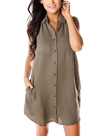 cdb388c48c855 PRETTODAY Women's Sleeveless Button Down Dress with Pockets at ...