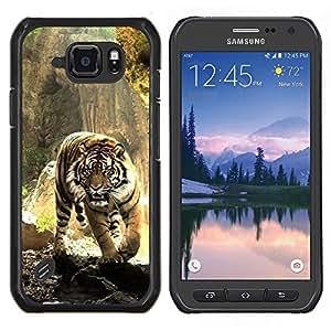 Caucho caso de Shell duro de la cubierta de accesorios de protecci¨®n BY RAYDREAMMM - Samsung Galaxy S6Active Active G890A - Tigre Feroz