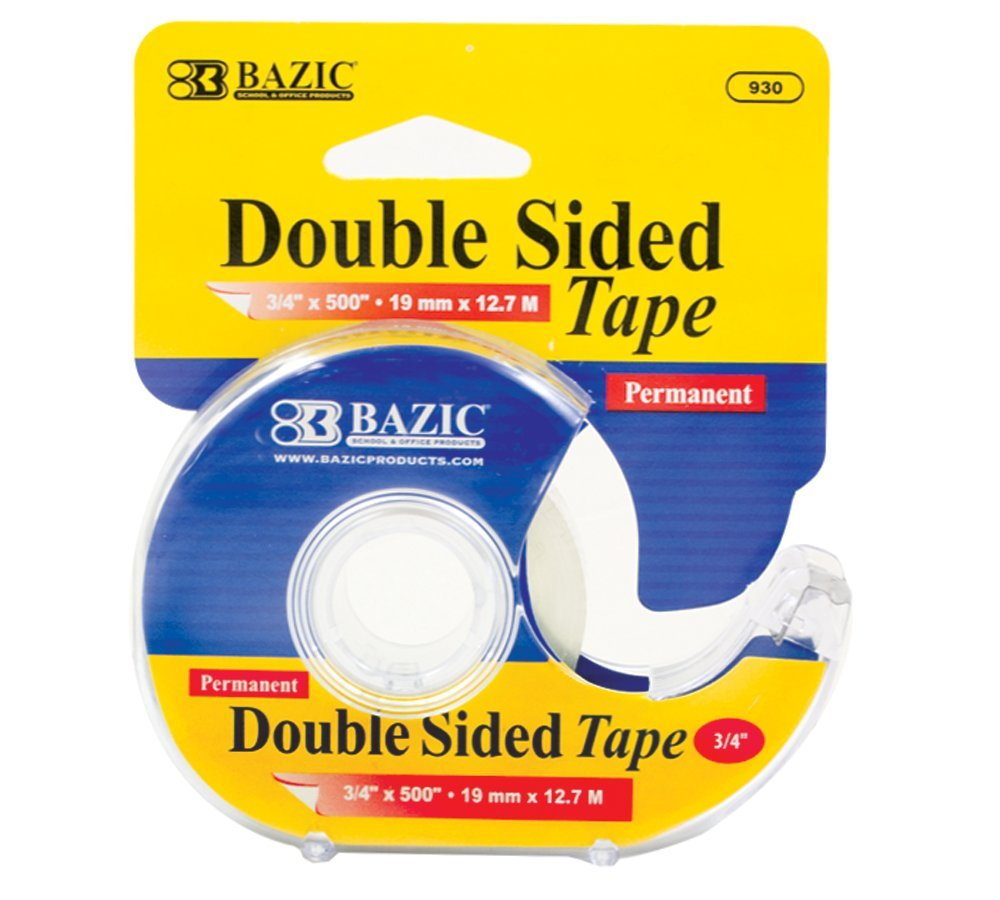 Bazic Double Sided Permanent Tape with Dispenser, 0.75 x 500 Inches (Case of 144)