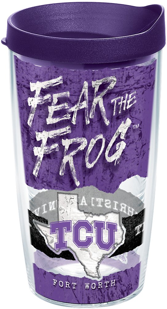Tervis 1251409 Tcu Horned Frogs College Statement Insulated Tumbler with Wrap and Royal Purple Lid, 16oz, Clear