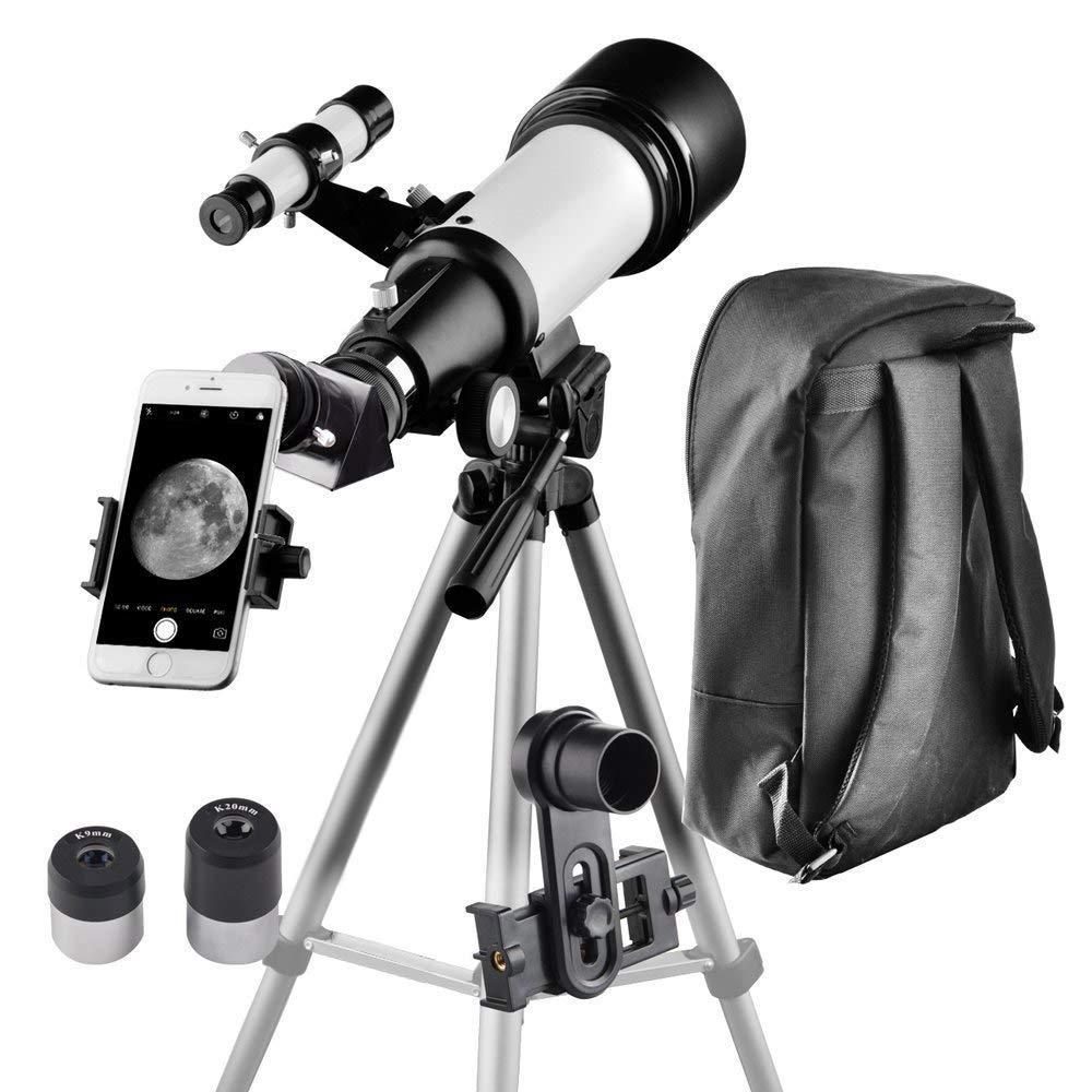 Telescope for Kids and Beginners Travel Scope 70mm Apeture 400mm AZ Mount - with Backpack to Carry Easily - Travel Telescope to View Moon and Planet by SOLOMARK
