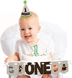 product image for Big Dot of Happiness Woodland Creatures 1st Birthday - First Birthday Girl or Boy Smash Cake Decorating Kit - High Chair Decorations