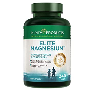 Elite Magnesium - Advanced Lysinate Glycinate Form | TRAACS Patented & Chelated from Purity Products &