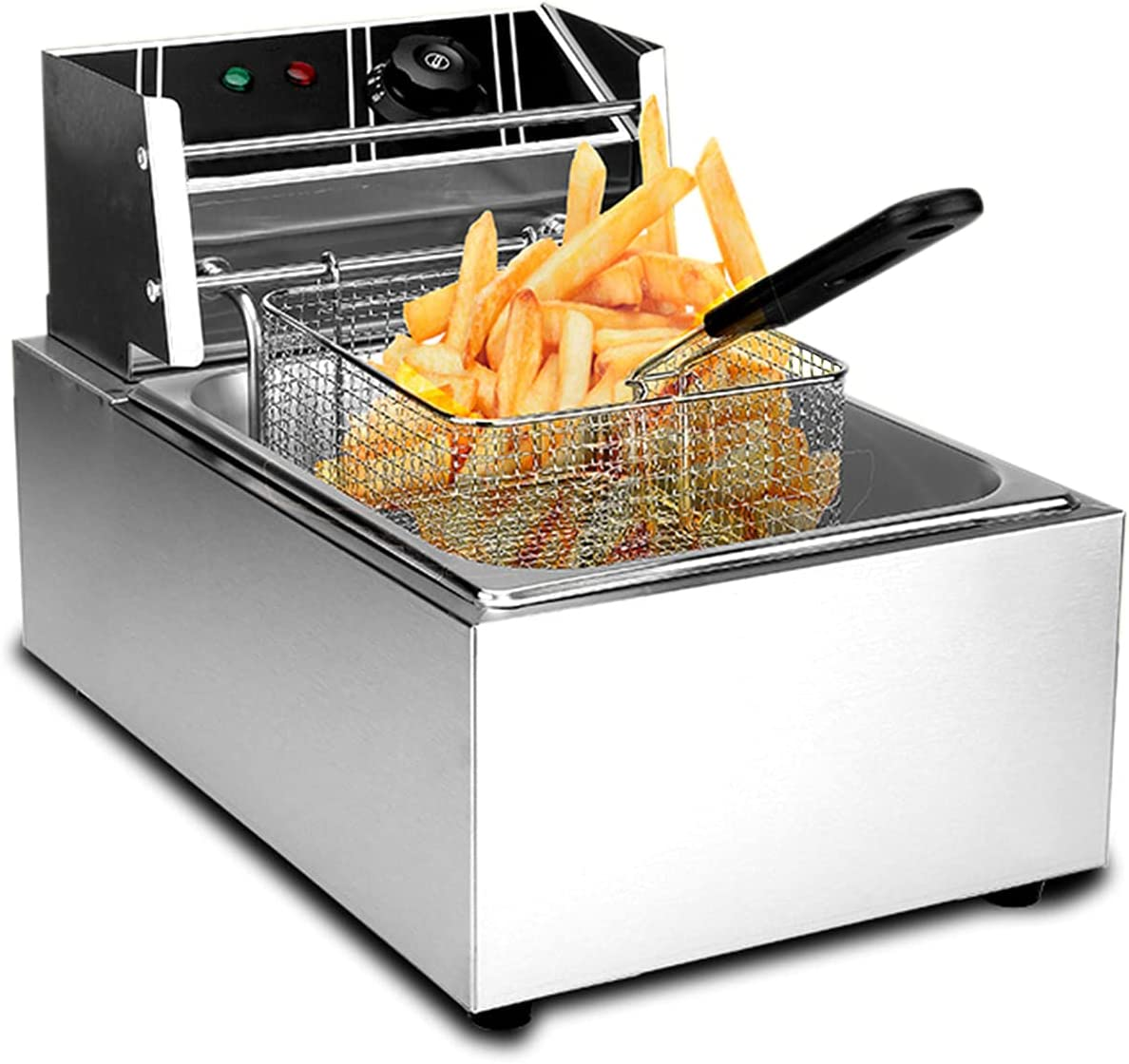ColouredPeas Commercial Deep Fryer with Basket & Lid 6.3QT/6L Stainless Steel Double Countertop Tank Electric Deep Fryer for French Fries Fried Chicken Machine Plug (Single Countertop/6L)