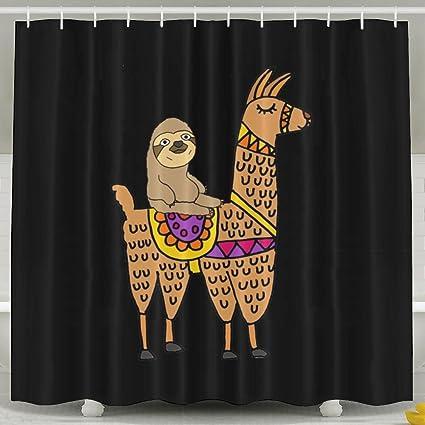 Amazon HYEECR Sloth Ride A Llama Shower Curtain Custom