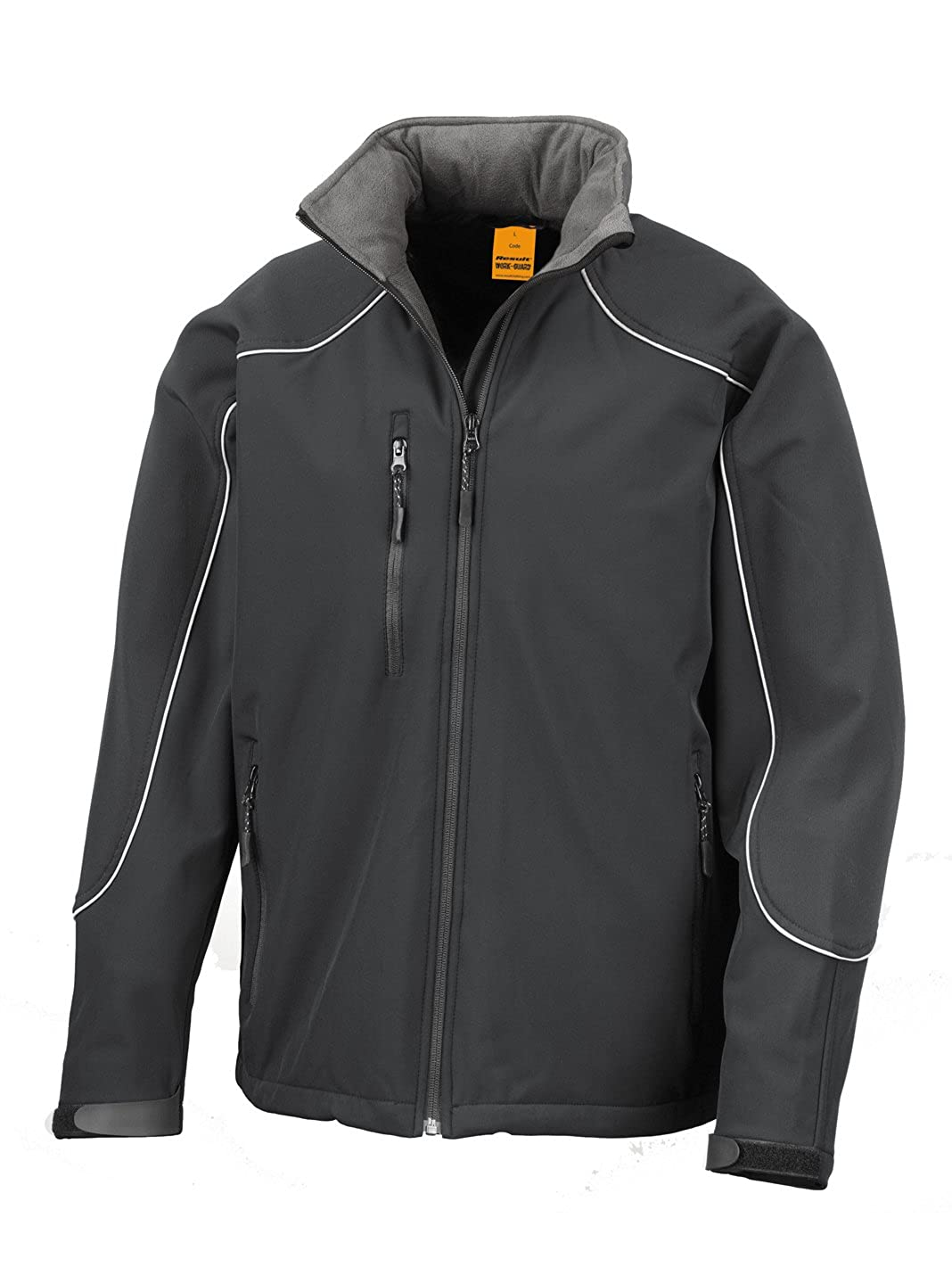 Result Work-Guard Mens Ice Fell Hooded Soft Shell Jacket Black//Black M