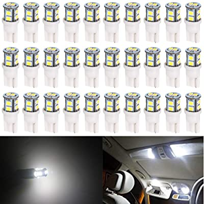 AMAZENAR 30-Pack T10 194 168 2825 175 W5W White Extremely Bright 10-SMD 2835 LED Light 12V Car Replacement Bulb for Map Dome Courtesy Side Marker License Plate Light: Automotive