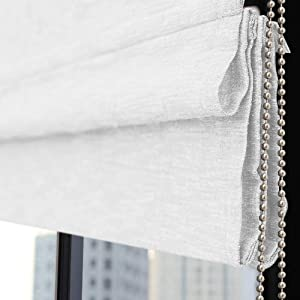 Roman Shades Window Blinds, White Sheer Window Shades, Fabric Custom Corded Roman Shades for Home, Window, French Door, Kitchen