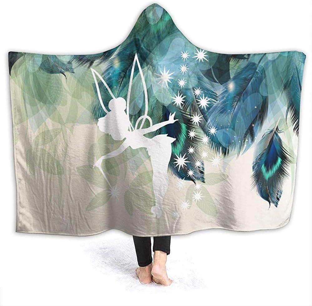 Auld-Shop Couvertures De Jet /À Capuche Portable F/ée Clochette pour Enfants Adultes Couverture Polaire Sherpa Doudou