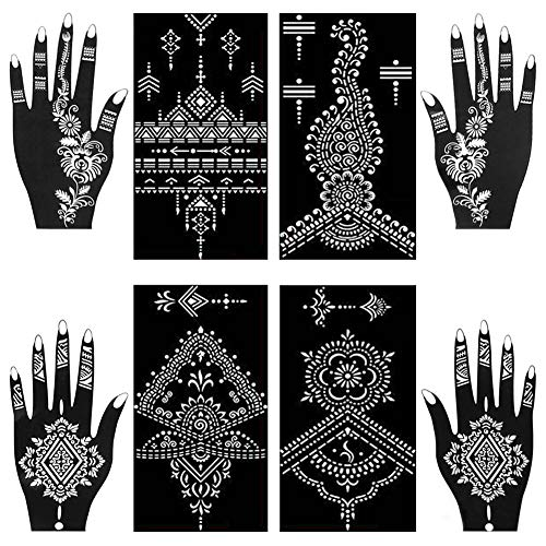 Henna Tattoo Stencils Kit Henna Paste Cones Stencils Hand Body Art Design Stencils 8 Sheets Indian Temporary Tattoos Stencils Self Adhesive Glitter Body Paint Stencils Reusable