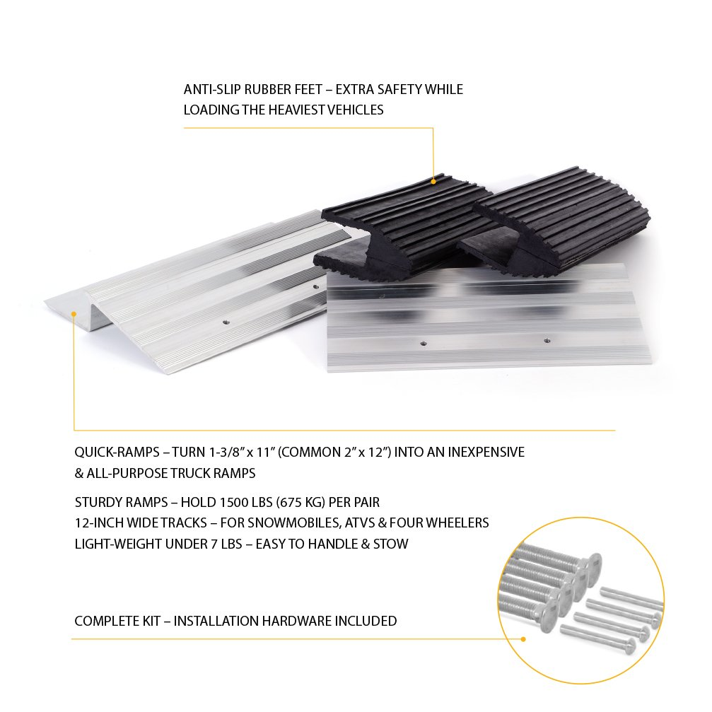 Wide Truck Ramps - 12-inch Aluminum Quick-Ramp Kit by AFA Tooling by AFA Tooling Approved for Automotive (Image #2)