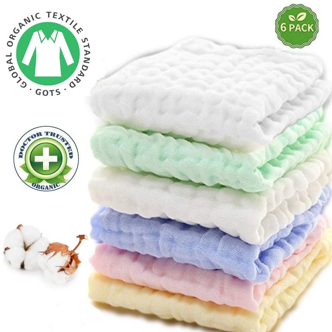 Baby Muslin Washcloths - Natural GOTS Certified Organic Muslin Cotton Baby Wipes - Soft Newborn Baby Face Towel for Sensitive Skin - Baby Registry as Shower Gift, 6 Pack 12X12 by Kwijns Kreations