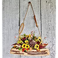 ''HANDMADE''Rustic wood bouquet with sunflower, Fall floral wallhanging decor, Farmhouse arrangement, Thanksgiving hanging bouquet